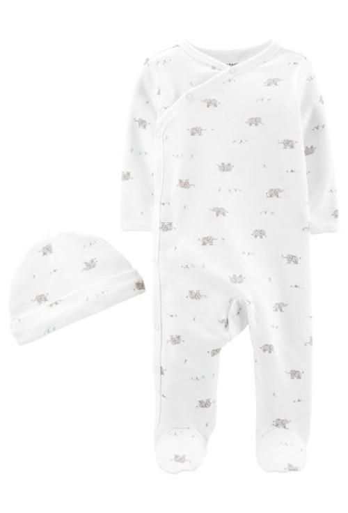 Carter's 2 db-os szett Elefánt mintás pizsama és sapka