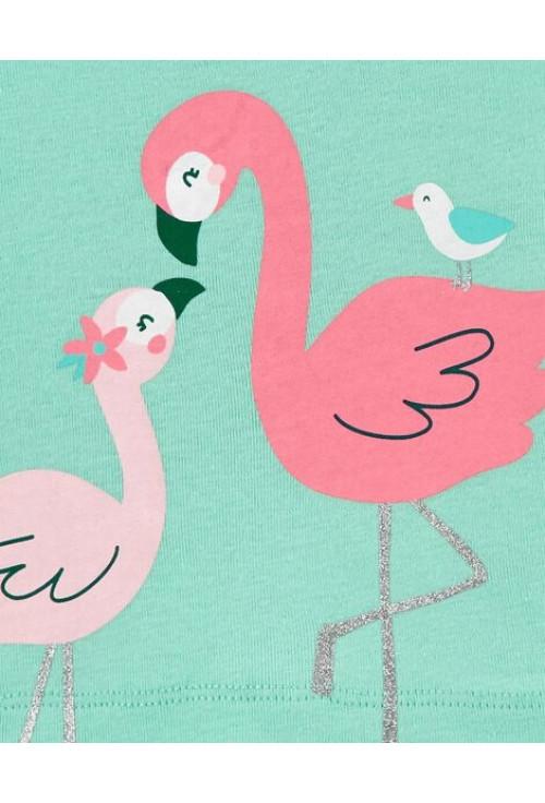 Carter's Szett 3 részes flamingo nadrág, póló és body