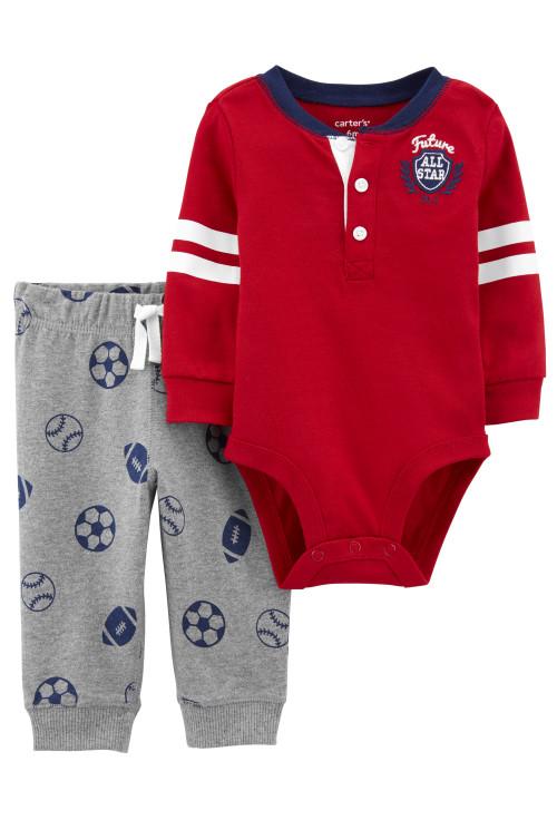 Carter's 2 db-os Fotball mintás baba nadrág és body szett