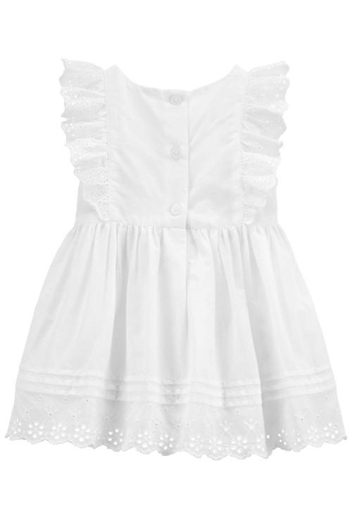 OshKosh Hímzett fehér szinű kisruha