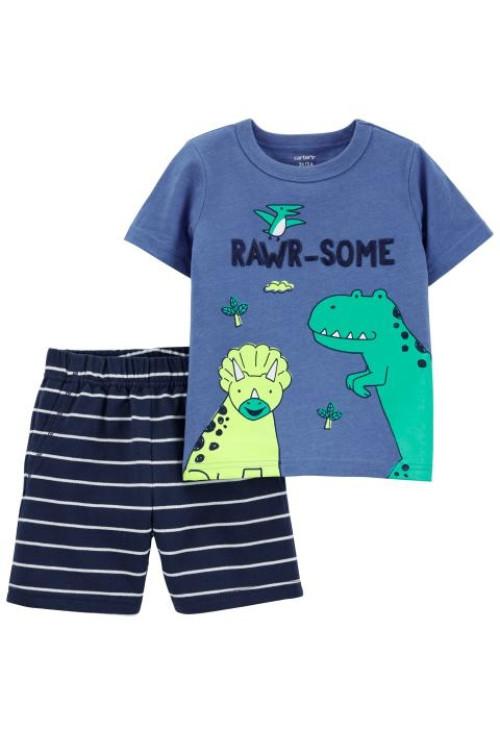 Carter's 2 darabos dino mintás trikó és rövid nadrág szett