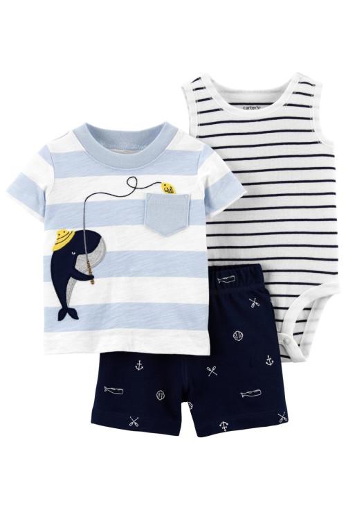 Carter's 3 darabos bálna mintás trikó és rövid nadrág szett