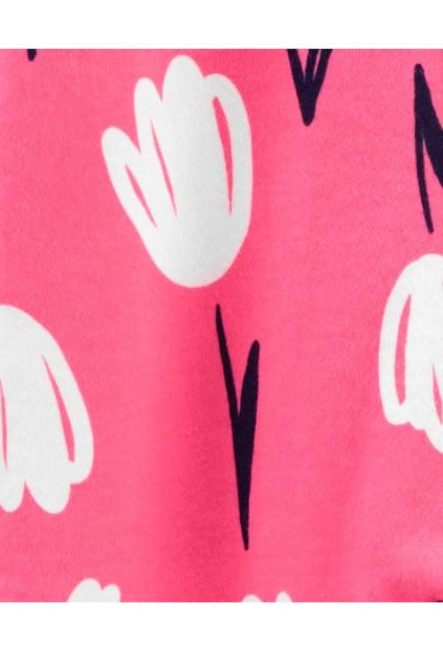 Carter's megforditható tulipán mintás cipzáros pizsama
