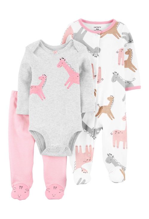Carter's 3 darabos nadrág body ls pizsama zsiráf mintás