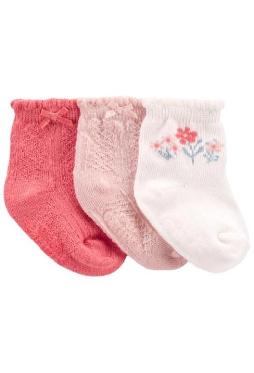 Carter's 3 darabos zokni szett virág mintás