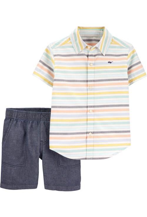 Carter's 2 darabos Csíkós ing és nadrág szett