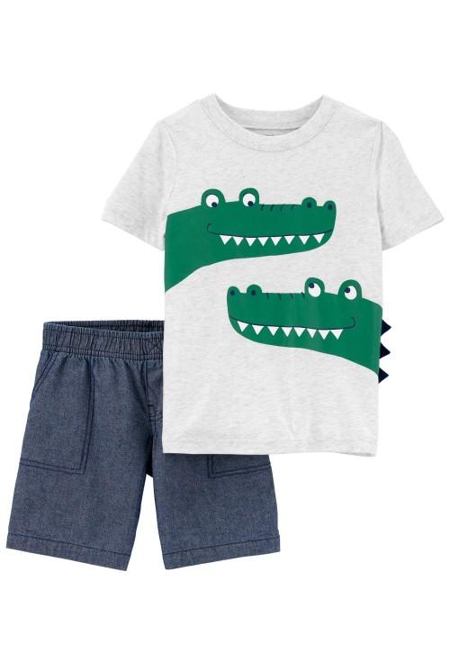 Carter's 2 darabos Aligátoros trikó és rövid nadrág szett