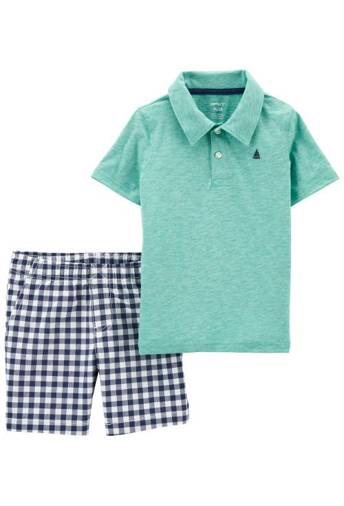 Carter's 2 darabos kockás trikó és rövid nadrág szett