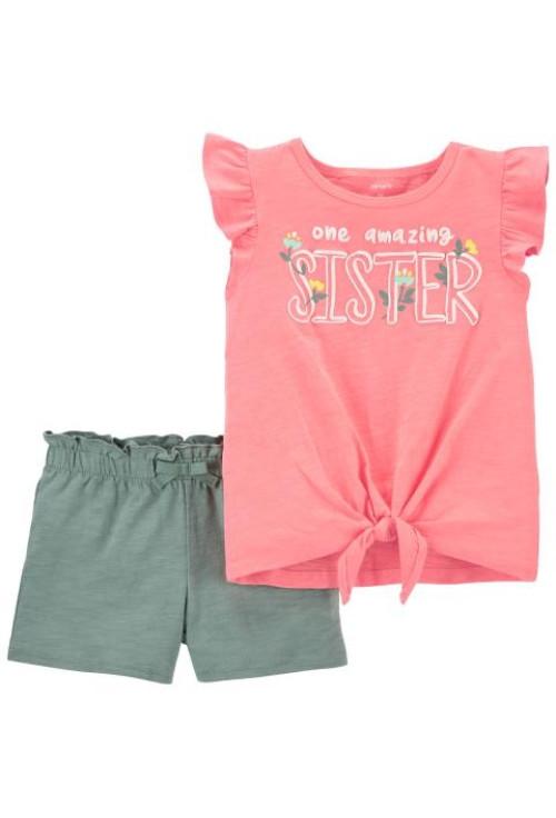 Carter's 2 darabos testvér mintás trikó és nadrág szett