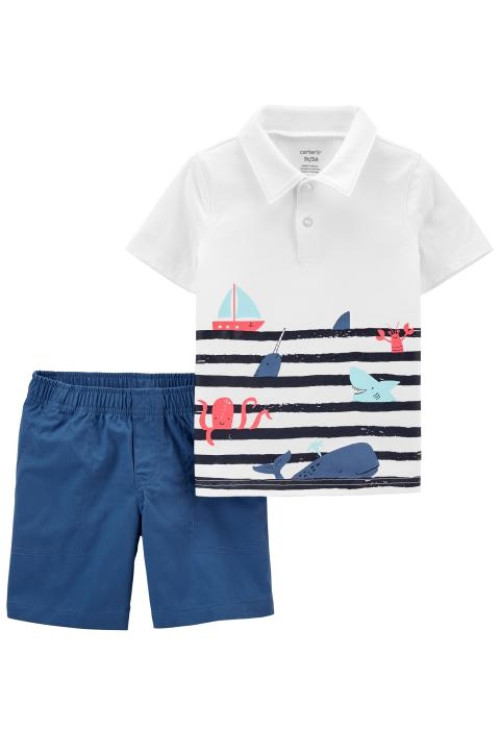 Carter's 2 darabos bálna trikó és rövid nadrág szett