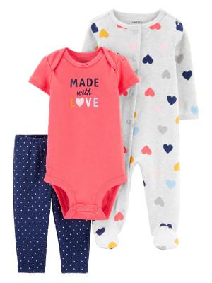 Carter's 3 db-os Szívecske mintás baba pizsama, body és nadrág