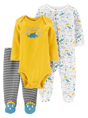Carter's 3 db-os Dinoszaurusz mintás baba pizsama, body és nadrág