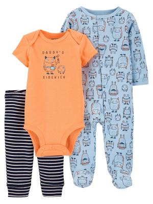 Carter's 3 db-os Szörnyeteg mintás baba pizsama, body és nadrág