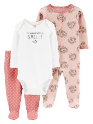Carter's 3 db-os Elefánt mintás pizsama szett, body és nadrág