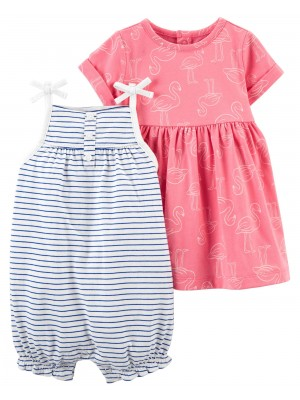 Carter's 2 darabos Flamingó mintás overál és ruha szett