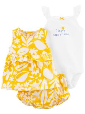 Carter's 3 darabos virág mintás body, trikó és rövid nadrág csomag