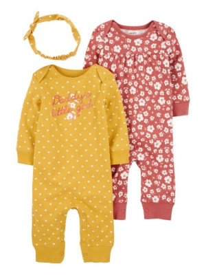 Carter's 3 darabos szett 2 baba pizsama és hajpánt