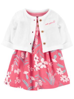 Carter's 2 darabos ruha kardigánnal virág mintás