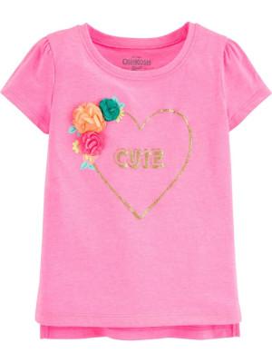 Oshkosh rózsaszín póló szívvel és virágokkal