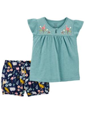 Carter's 2 darabos flamingó mintás trikó és rövid nadrág csomag