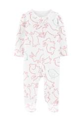 Carter's Nyuszi mintás 2 kocsis cipzár pizsama, 100% organikus pamut