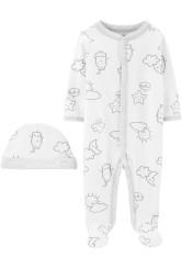 Carter's 2 db-os Felhőcske mintás pizsama és sapka szett