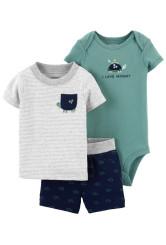 Carter's 3 darabos teknős mintás body, trikó és rövid nadrág szett