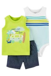 Carter's 3 darabos ujjatlan body, trikó és rövid nadrág szett neon szín