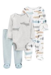 Carter's 3 darabos nadrág body és pizsama szett kutyás