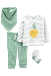 Carter's 4 darabos nadrág blúz előke és zokni szett zöldséges