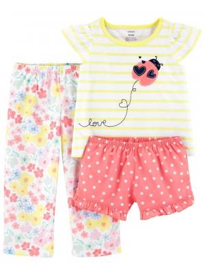 Carter's 3 darabos Katibogármintás pizsama szett